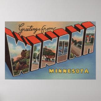 Winona, Minnesota - Large Letter Scenes Poster