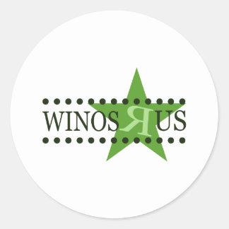 Winos R Us (Green) Classic Round Sticker