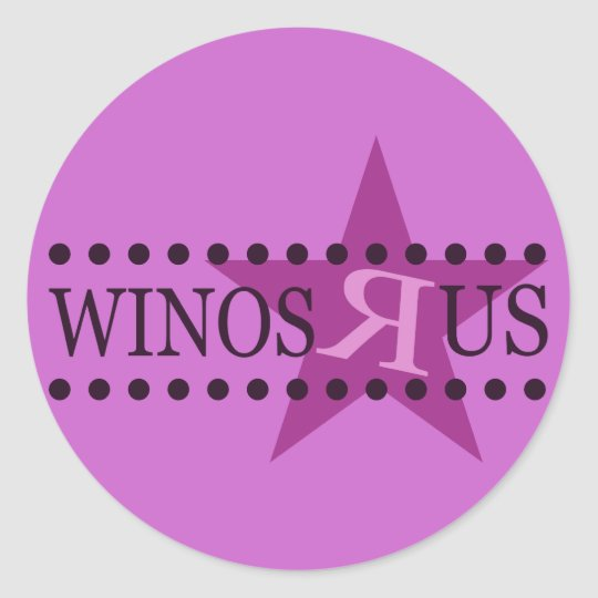 Winos R Us (Purple) Classic Round Sticker