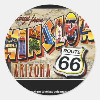 winslow arizona classic round sticker