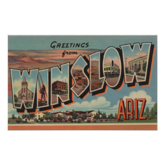 Winslow, Arizona - Large Letter Scenes Poster