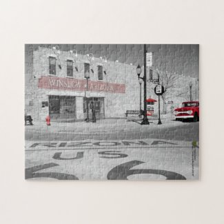 Winslow Arizona Red Splash Photograph Jigsaw Puzzle