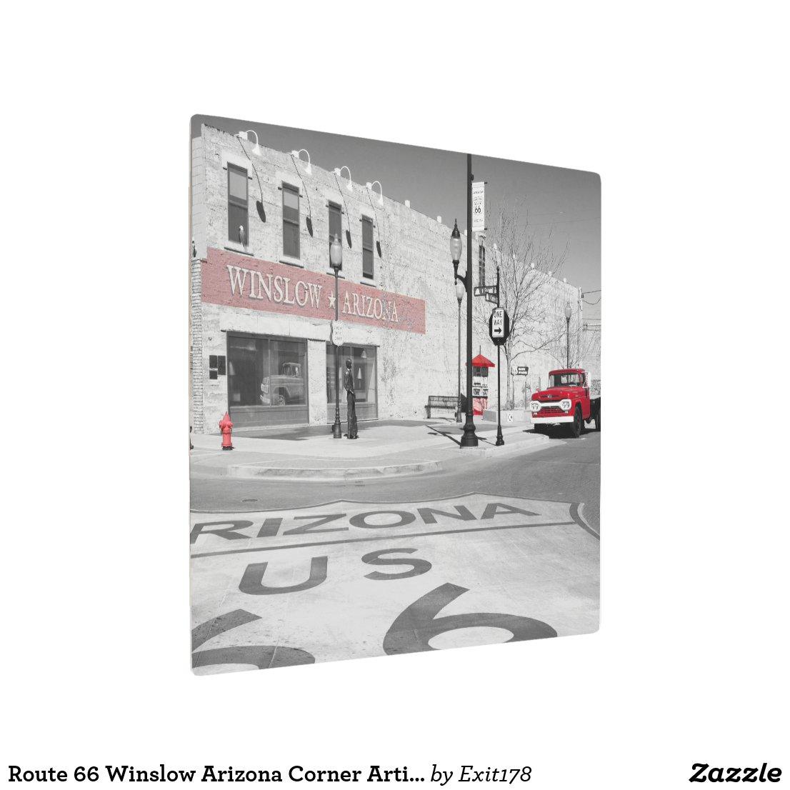 Winslow Arizona Red Splash Photograph Metal Print