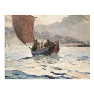 Winslow Homer - barcos de pesca de vuelta Tarjeta Postal