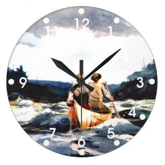 Winslow Homer: Canoe in the Rapids Large Clock
