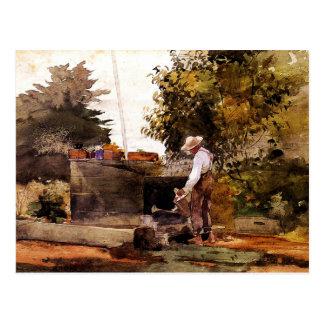 Winslow Homer - en el pozo Postal
