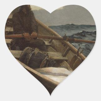 Winslow Homer Fog Warning Heart Sticker
