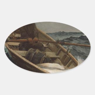 Winslow Homer Fog Warning Oval Sticker