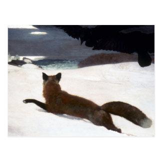 WINSLOW HOMER: FOX HUNT, 1893 POSTCARD