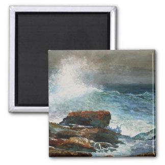 Winslow Homer - Incoming Tide, 1885, artwork 2 Inch Square Magnet