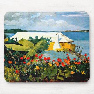Winslow Homer: Jardín de flores y casa de planta b Alfombrillas De Ratones