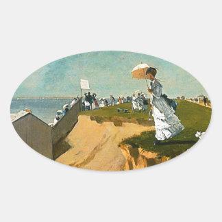 Winslow Homer - Long Branch, New Jersey Oval Sticker