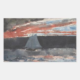Winslow Homer - Schooner at Sunset Rectangular Sticker