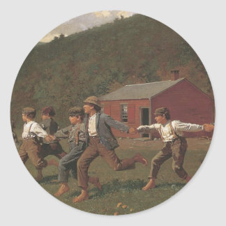 Winslow Homer Snap The Whip Classic Round Sticker