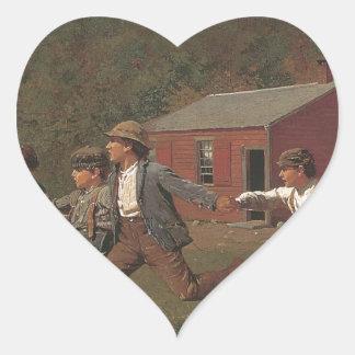 Winslow Homer Snap The Whip Heart Sticker