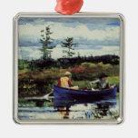 Winslow Homer: The Blue Boat, 1892, artwork Square Metal Christmas Ornament