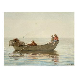 Winslow Homer - tres muchachos en un Dory Postal