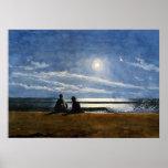 Winslow Homer watercolor, Moonlight Poster