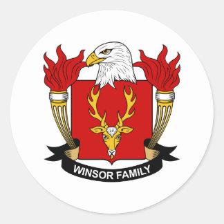 Winsor Family Crest Classic Round Sticker