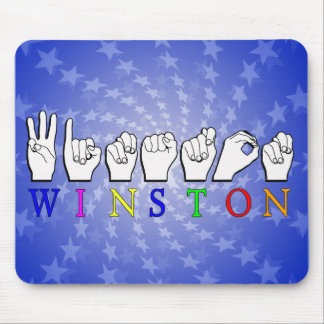 WINSTON ASL NAME SIGN FINGERSPELLED MOUSE PAD