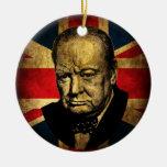 Winston Churchill Adorno Navideño Redondo De Cerámica