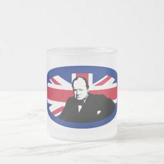 Winston Churchill and Union Jack Design 10 Oz Frosted Glass Coffee Mug