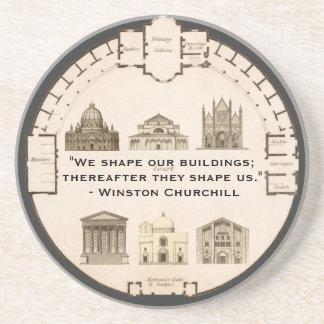 Winston Churchill Architecture John Plaw Vintage Beverage Coasters