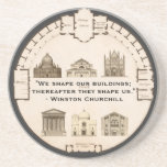 Winston Churchill Architecture John Plaw Vintage Drink Coaster