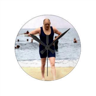 Winston Churchill at the seaside Round Clocks