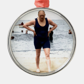 Winston Churchill at the seaside Round Metal Christmas Ornament