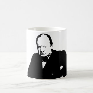 Winston Churchill -- Black and White Coffee Mug