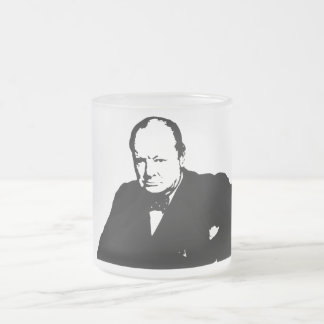 Winston Churchill -- Black and White 10 Oz Frosted Glass Coffee Mug