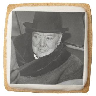 Winston Churchill & British Flag Square Premium Shortbread Cookie
