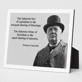 Winston Churchill Capitalism Quote Photo Plaque