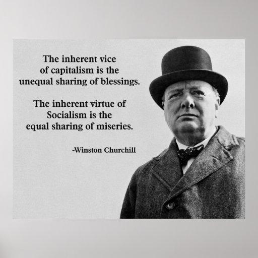Winston Churchill Capitalism Quote Poster