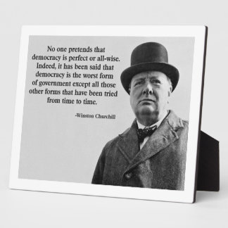 Winston Churchill Democracy Quote Plaque
