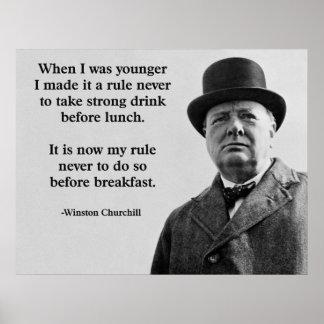 Winston Churchill Drinking Poster
