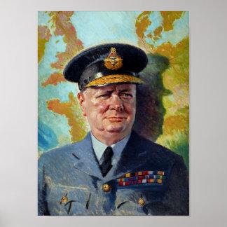 Winston Churchill en la pintura uniforme Póster
