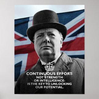 """Winston Churchill- """"esfuerzo continuo """" Póster"""