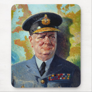 Winston Churchill In Uniform Painting Mouse Pad