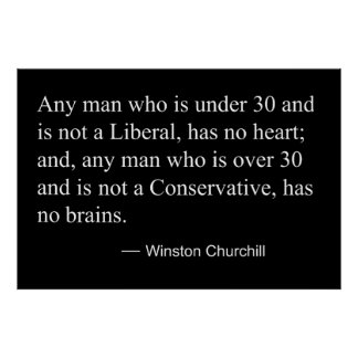 WINSTON CHURCHILL on LIBERALS and CONSERVATIVES Poster