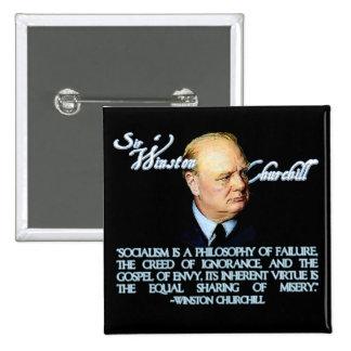 Winston Churchill on Socialism 2 Inch Square Button