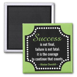 Winston Churchill Positive Attitude Quote 2 Inch Square Magnet