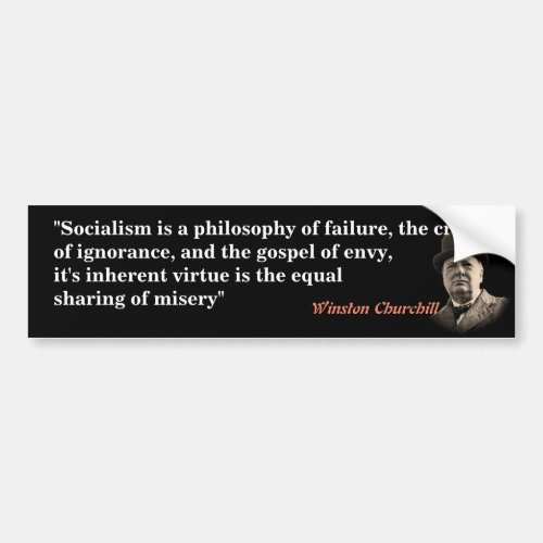 Winston Churchill Quote On Socialism Bumper Sticker