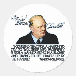 Winston Churchill Quote on Taxation Classic Round Sticker