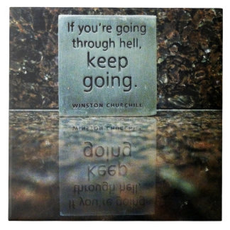 Winston Churchill Quote Reflection Large Square Tile