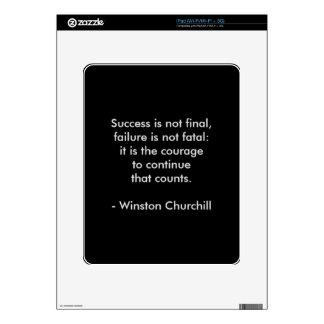 Winston Churchill Quote; Success Skins For iPad