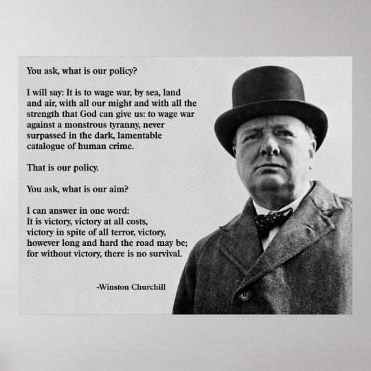 Winston Churchill Victory Quote: Winston Churchill Victory Poster