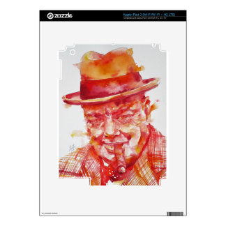 winston churchill - watercolor portrait decal for iPad 3