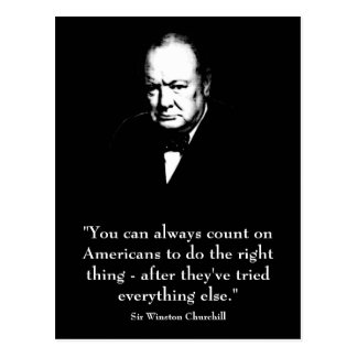 Winston Churchill y cita divertida Postal
